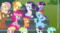"Rainbow ""invented sitting on bleachers!"" S8E20"