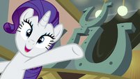 Rarity presenting three-hoof restaurant sign S6E12