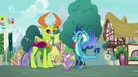 Spike, Ember, and Thorax are friends again S7E15
