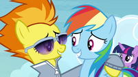 Spitfire with hoof around Rainbow S4E10