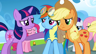 Applejack and Twilight Sparkle console Rainbow Dash S3E7