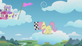 Filly Fluttershy waves the checkered flag S5E25.png