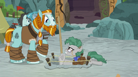 Professor Fossil looks annoyed at Rockhoof S8E21