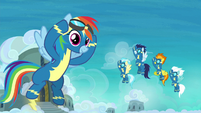 Rainbow and Wonderbolts at academy S8 opening
