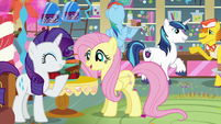 Rarity, Fluttershy, and Rainbow enjoy the party S5E19