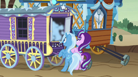 Smoke pouring out of Trixie's wagon S8E19