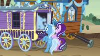 Smoke pouring out of Trixie's wagon S8E19