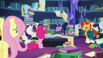 Twilight Sparkle's tired friends look at her S7E25