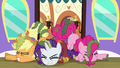 AJ, Rarity, and Pinkie stumble out of the train door S6E22.png