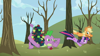 Applejack and Twilight tie up tree instead of Spike S2E10