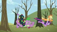 Applejack and Twilight tie up tree instead of Spike S2E10