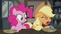 Applejack coughs up a rock S5E20