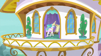 Balcony view of Celestia writing a list S9E13