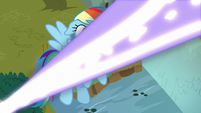 Blast of magic whizzes past Rainbow Dash S9E2