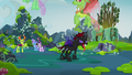 Changelings flying away from Pharynx S7E17.png