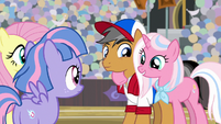 Clear Sky puts a hoof around Quibble Pants S9E6