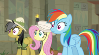 Daring, Fluttershy, and RD hear Ahuizotl S9E21