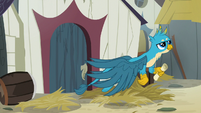 Gallus flying away from Gruff's house S9E3