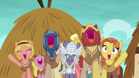 Island villagers cheering for Rockhoof S7E16