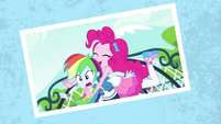 Photo of Pinkie Pie tackling Rainbow Dash EGFF