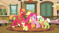 Pinkie Pie -arguing- along with the Apples S4E09