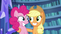Pinkie and AJ smiling S5E21