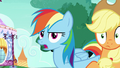 Rainbow Dash Changeling shoving Applejack off-screen S6E25.png
