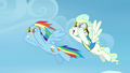 Rainbow Dash and Vapor Trail flying together S6E24.png