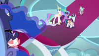 Twilight, Celestia, and Shining look at Luna S9E4