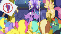 Twilight gets swarmed by clamoring ponies S7E14