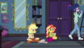 Applejack looking frustrated at Sunset Shimmer EGDS6.png