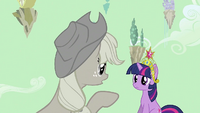 Applejack pointing at Twilight S2E02