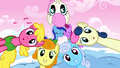Cherry Berry, Sweetie Drops, Golden Harvest, Shoeshine, and Twinkleshine sing S1E11.png
