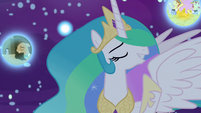 Dr. Hooves and Flim and Flam's dream bubbles float near Celestia S7E10