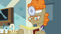 Dr. Horse reading a medical textbook S7E20