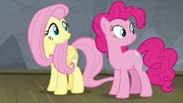 Fluttershy and Pinkie hear Rainbow return S8E7
