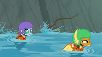 Ocellus and Smolder floating downstream S8E9