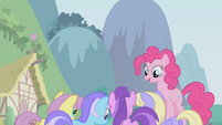 Pinkie Pie above other ponies S1E3