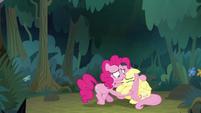 Pinkie Pie hugging Fluttershy S8E13
