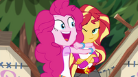 Pinkie Pie hugging Sunset Shimmer EG4