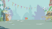 Pinkie Pie playing music in the distance S1E10