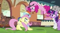 Pinkie Pie pouncing on Fluttershy S2E24