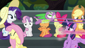 Pinkie speeds away while Spike hangs on S6E7.png