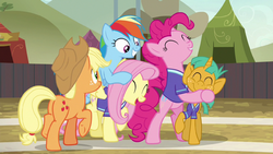 Ponyville buckball team celebrate their victory S6E18
