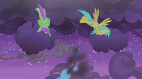 Rainbow Dash and Pegasi clearing the clouds S9E17