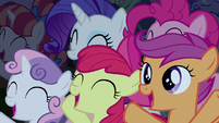Rarity, Pinkie, and CMC cheering for Rara S5E24
