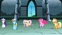 Rarity, Rainbow Dash, Fluttershy, Pinkie Pie, Applejack panning shot S1E2