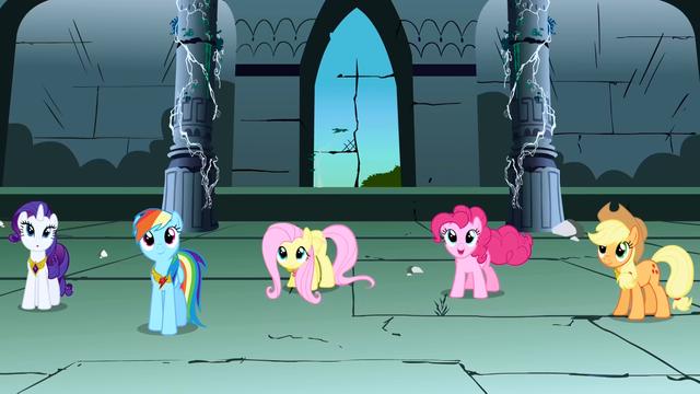File:Rarity, Rainbow Dash, Fluttershy, Pinkie Pie, Applejack panning shot S1E2.png