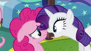 Rarity and Pinkie's faces close to each other S5E19