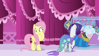 Rarity looks for another costume while Fluttershy rubs her cheek S5E21
